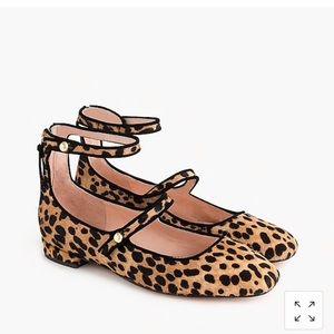 J Crew Leopard Ankle Strap Flats